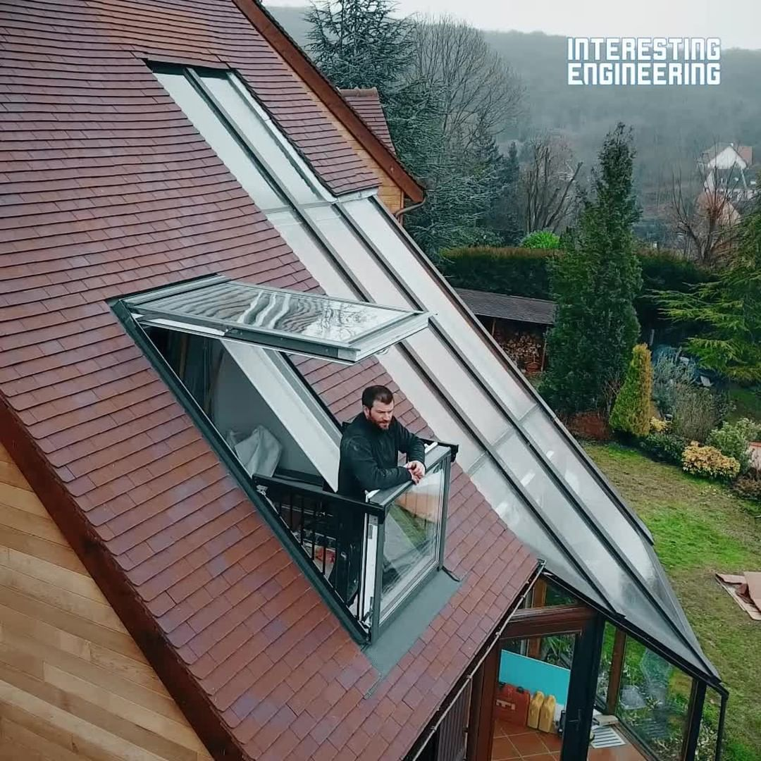 This Window Transforms Into A Balcony With The Touch Of A Button Via Velux Roof Window Small Balcony Roof Design