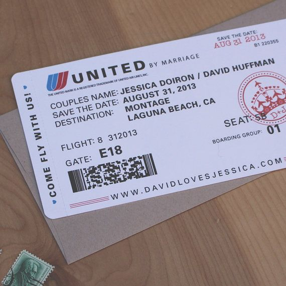 Plane Ticket Wedding Invitations: Airplane Ticket Save The Date