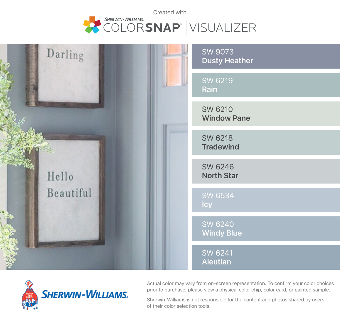 I Found These Colors With Colorsnap Visualizer For Iphone By Sherwin Williams Dusty H Blue Gray Paint Colors Blue Painted Walls Sherwin Williams Paint Colors