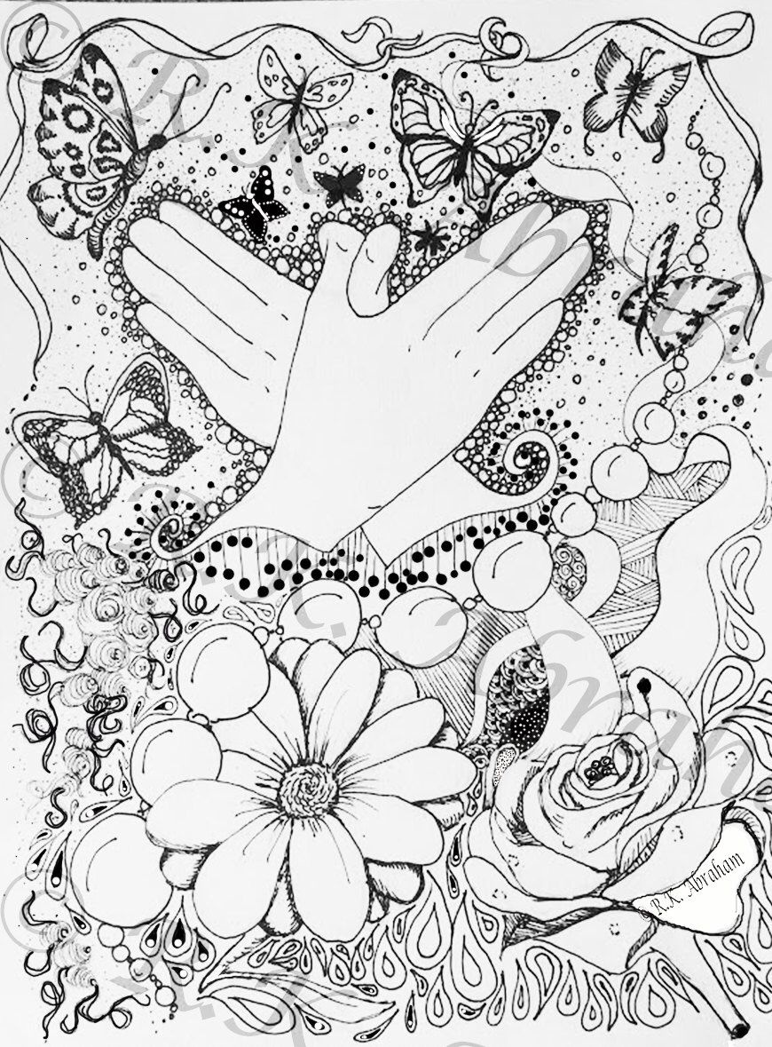 Butterfly Sign Language Zentangle Coloring page by KFAArtDesign on ...