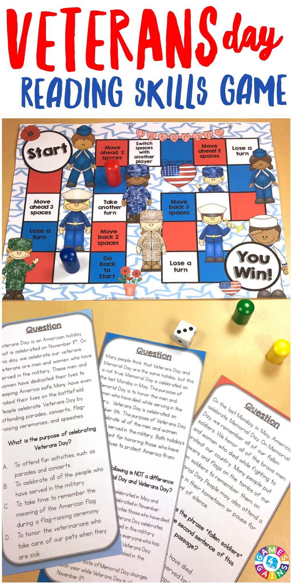 Veterans Day Activity Celebrate Armed Forces Reading Game