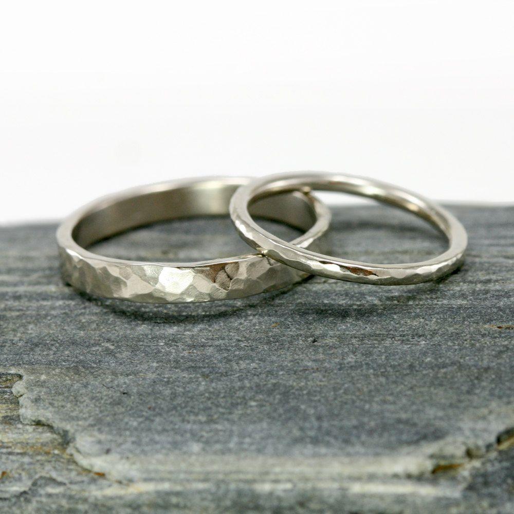Gold Wedding Rings 14k White Gold Hammered Wedding Band Set 3mm Mens Ring And 1 6mm 14k White Gold Womans Ring Hi His Hers Rings Gold Wedding Rings White Gold Wedding Rings