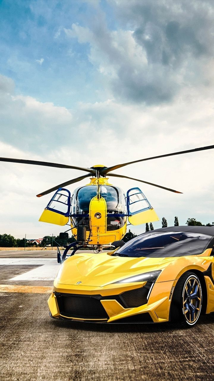 Helicopter and Fenyr SuperSport, 720x1280 wallpaper