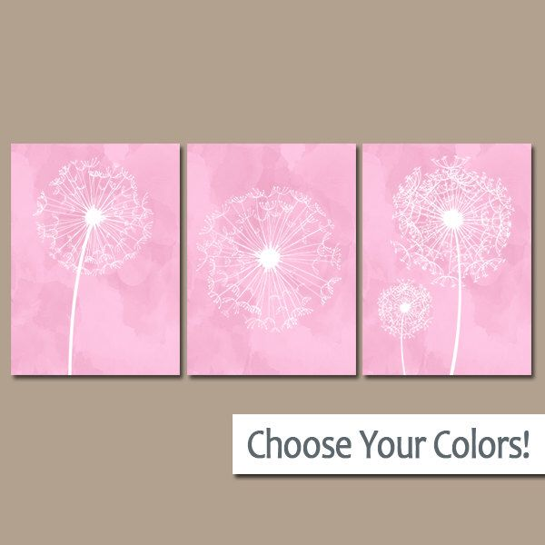 DANDELION NURSERY ART   Pink Nursery Wall Art   Watercolor Dandelions Canvas  Or Prints