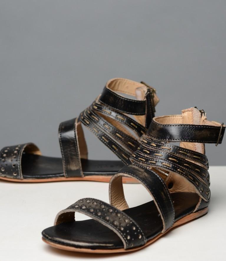 Artemis Sandal Sandals, Stitching leather, Black