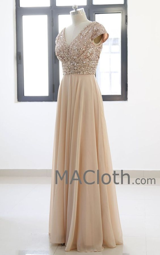 7e6cd03ed600 Cap Sleeves V Neck Sequin Chiffon Rose Gold Bridesmaid Dress | My ...