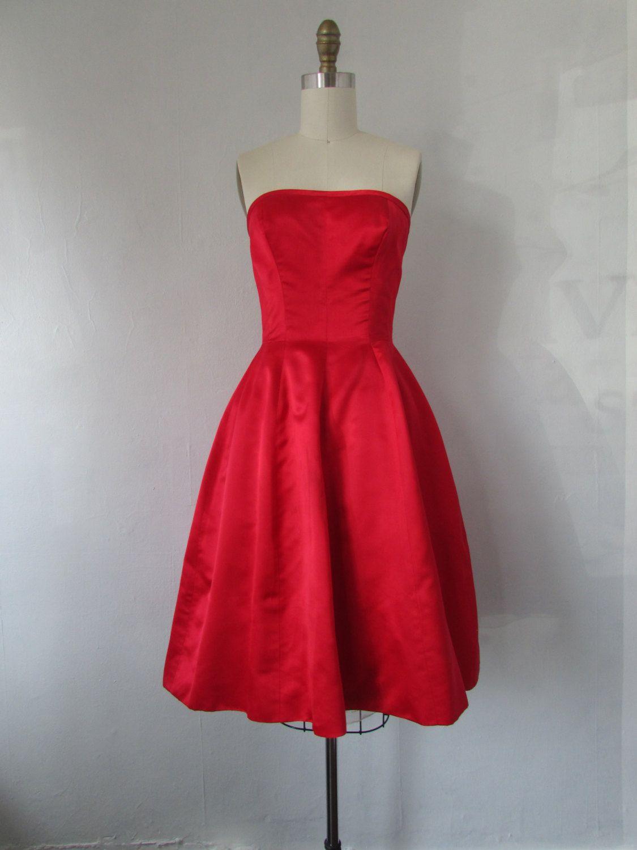 1960s Crimson Red Strapless Dress Vintage 60s Red Dress Etsy Red Strapless Dress Dresses Mini Cocktail Dress [ 1500 x 1125 Pixel ]