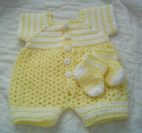 0064 Baby Boys Yellow Sunshine Pattern,Baby Crochet Romper,Infant ...