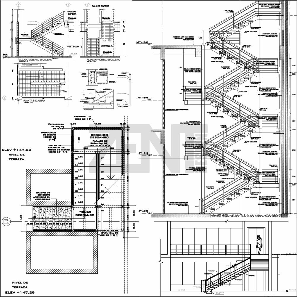 Zent design 2d escaleras de metalicas planos for Escalas metalicas