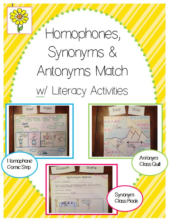 Fun synonym, antonym and homophone match-up activity, with corresponding, independent literacy activities!  Great way to introduce/review these concepts!