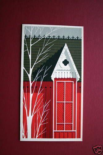Barn Detail ~ Eyvind Earle ~ Unused Irene Dash Xmas Greeting Card ~ Gorgeous | Xmas greeting ...