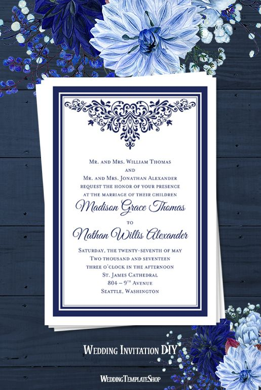 Anna Maria Wedding Invitation Navy Blue Wedding Simple Wedding