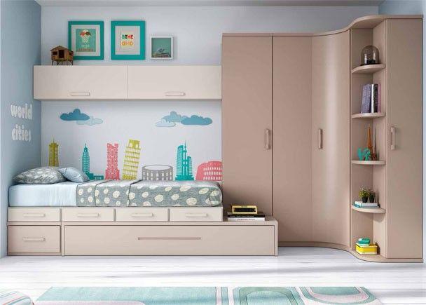 Habitaci n juvenil linea modular con 2 camas ideas for for Habitacion juvenil 2 camas