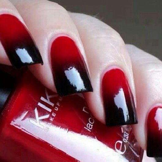Blood Red Nails With Black Tips Nails Cute Nails Red Nails
