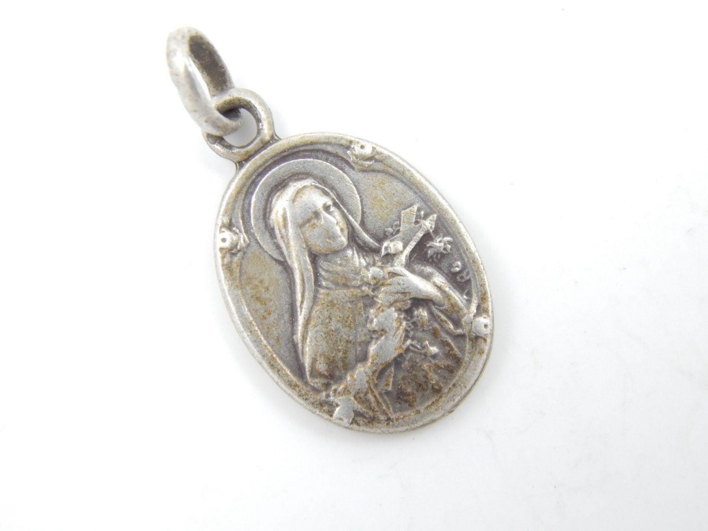 vintage therese catholic medal religious charms catholic