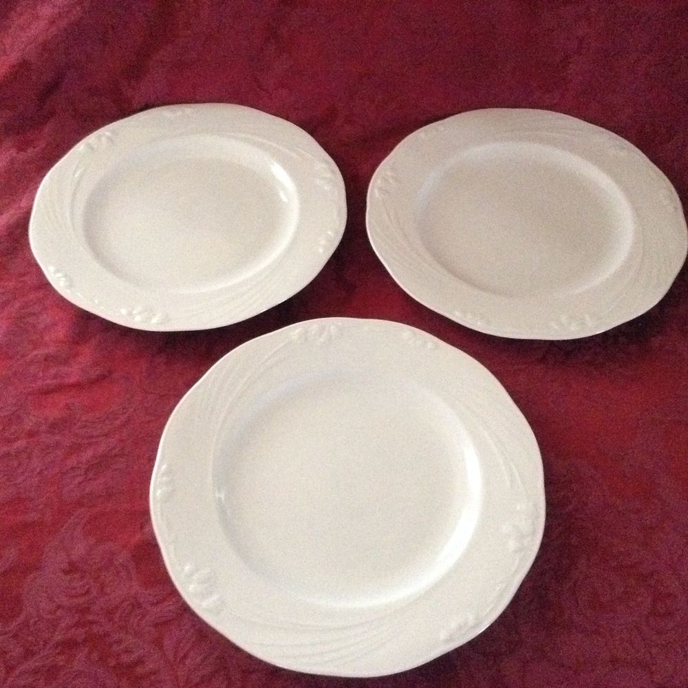 Studio Nova White Petite Lily Rimmed Dinner Plates set of three 10 7/8 inch & Studio Nova White Petite Lily Rimmed Dinner Plates set of three 10 7 ...
