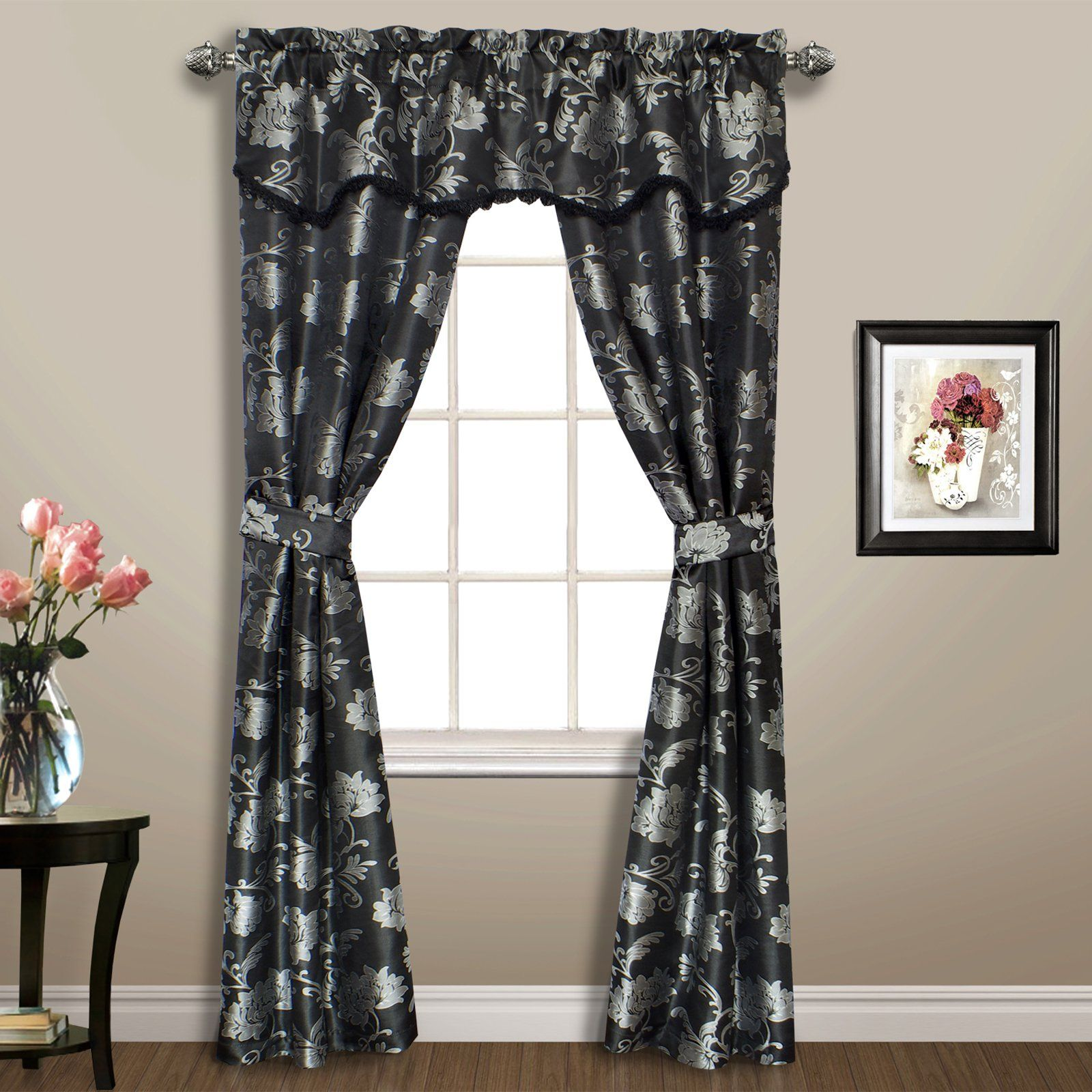 United Curtain Carrington 5 Piece Curtain Set Black Panel