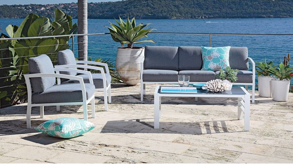 Mykonos 4 Piece Lounge Setting - Outdoor Lounges | Harvey Norman ...