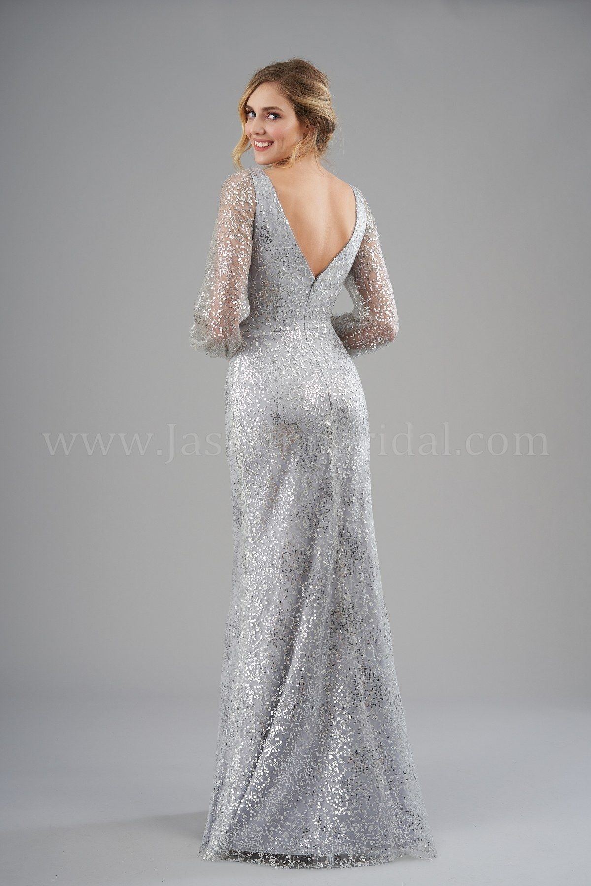 0efdb95d754 B203062 Sophisticated brushed sequin bridesmaid dress with a V-neckline and  V back. Sheer long sleeves and a flattering fit and flare silhouette to  complete ...