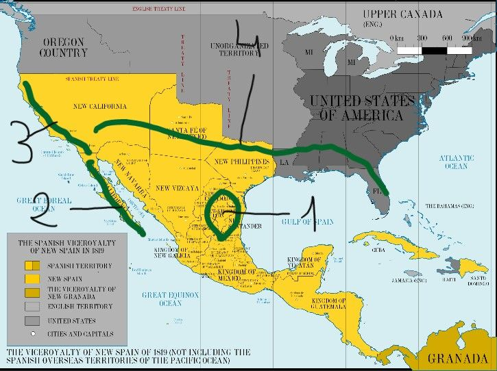 Green Lines Are The Areas Of Stablishment Of Old Spanish Missions In Current Mexico And U S A