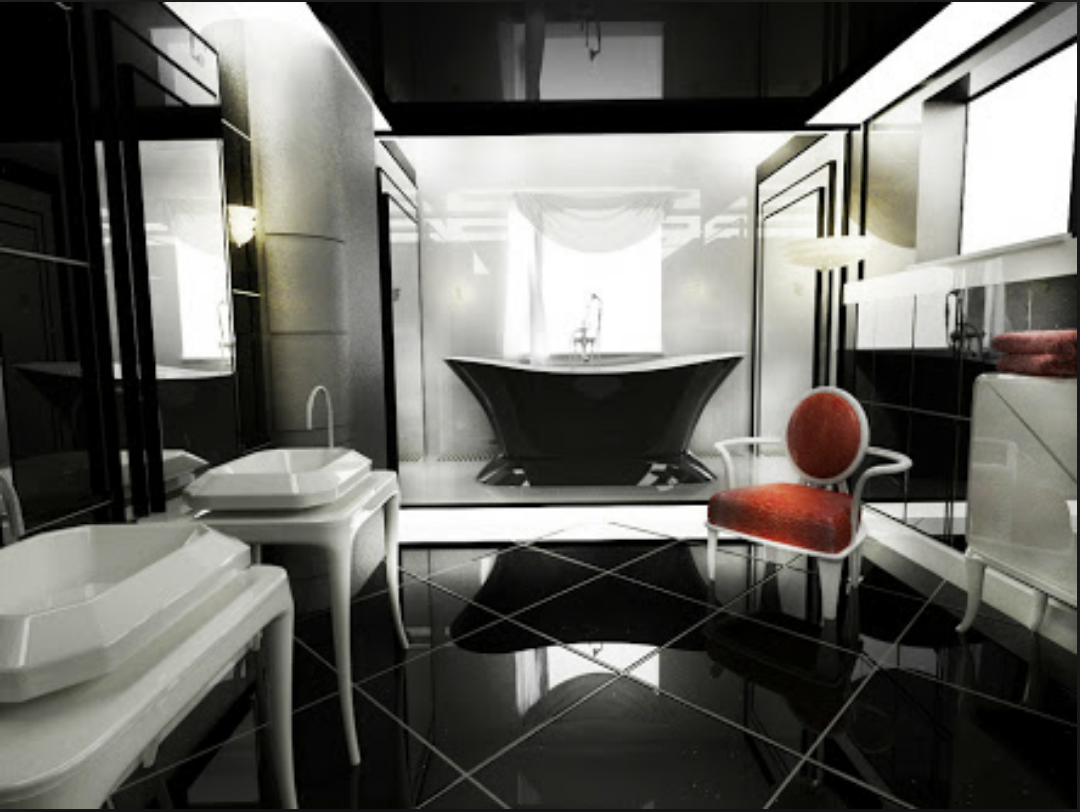 Dark Chic Art Deco Bathroom
