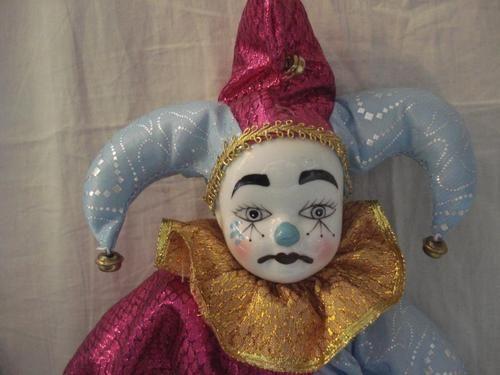 80's Clown Doll- Porcelain Head,Hands,Feet-14