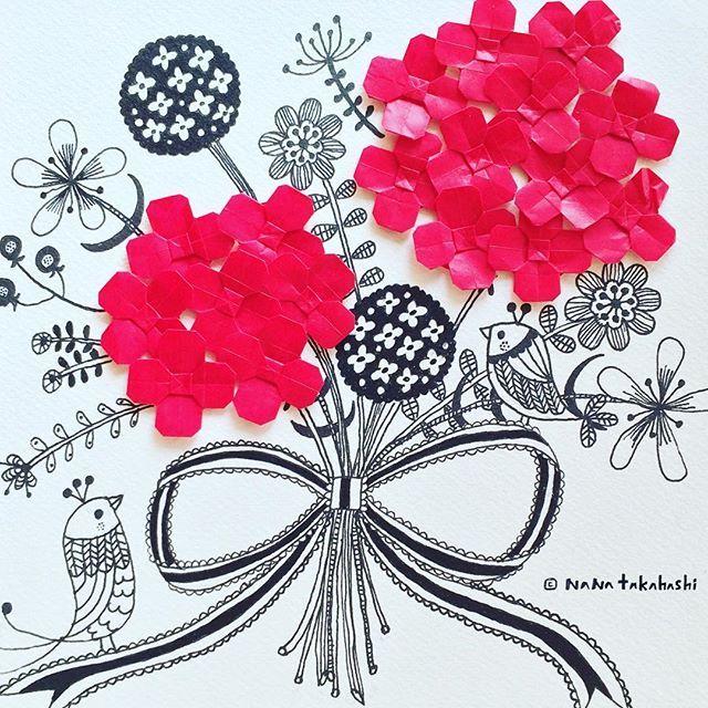 ハナタバをきみに〜 for you . . #origami  #illustration  #papercraft  #collage  #paperflower #bouqet #おりがみ  #ペーパークラフト  #ブーケ #赤い花