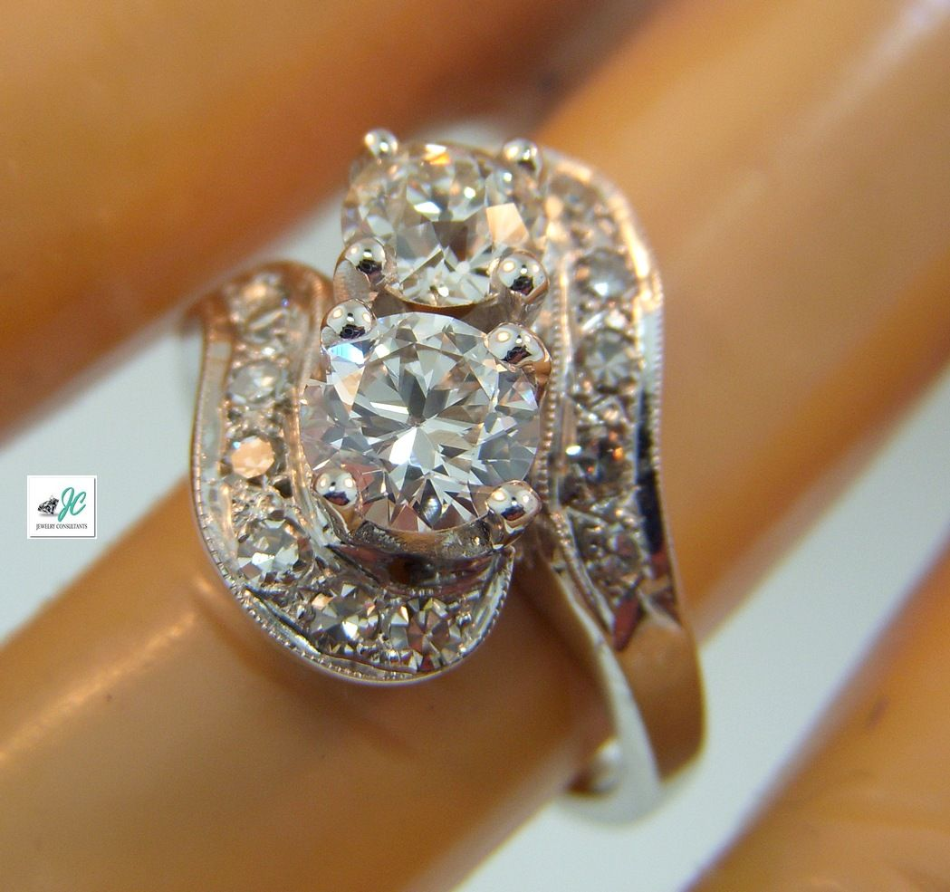 """The classic 40's 14k white gold Diamond """"Bypass"""" ring."""