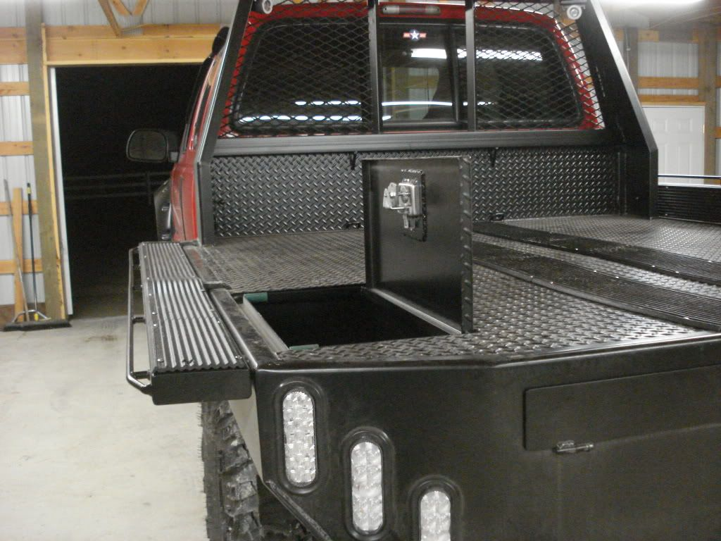 Custom Flatbed Idea With Fold Down Sides And In Bed Surface Water