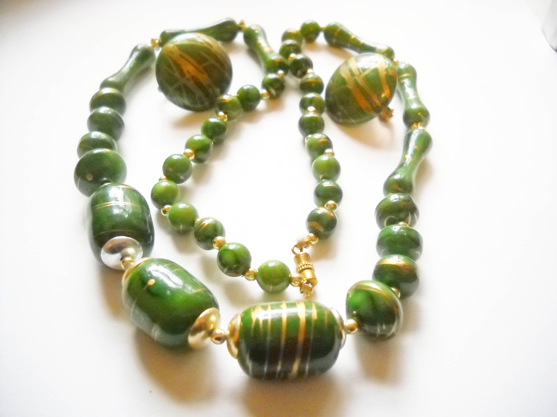 Green jade gold necklace earrings jewelry set beaded handmade