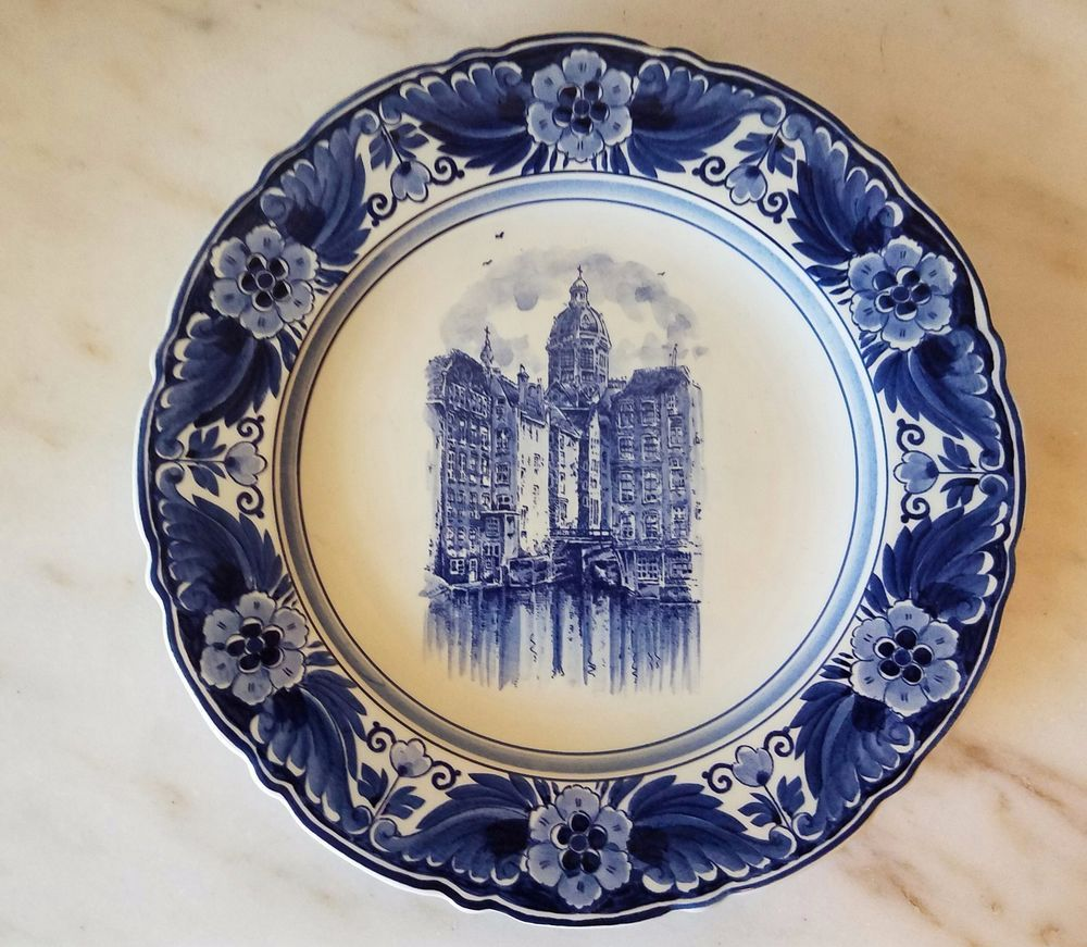 Blue And White Decorative Wall Plates Adorable Blue & White Delfts Blauw Wall Plate Hanging Made In Holland Design Ideas