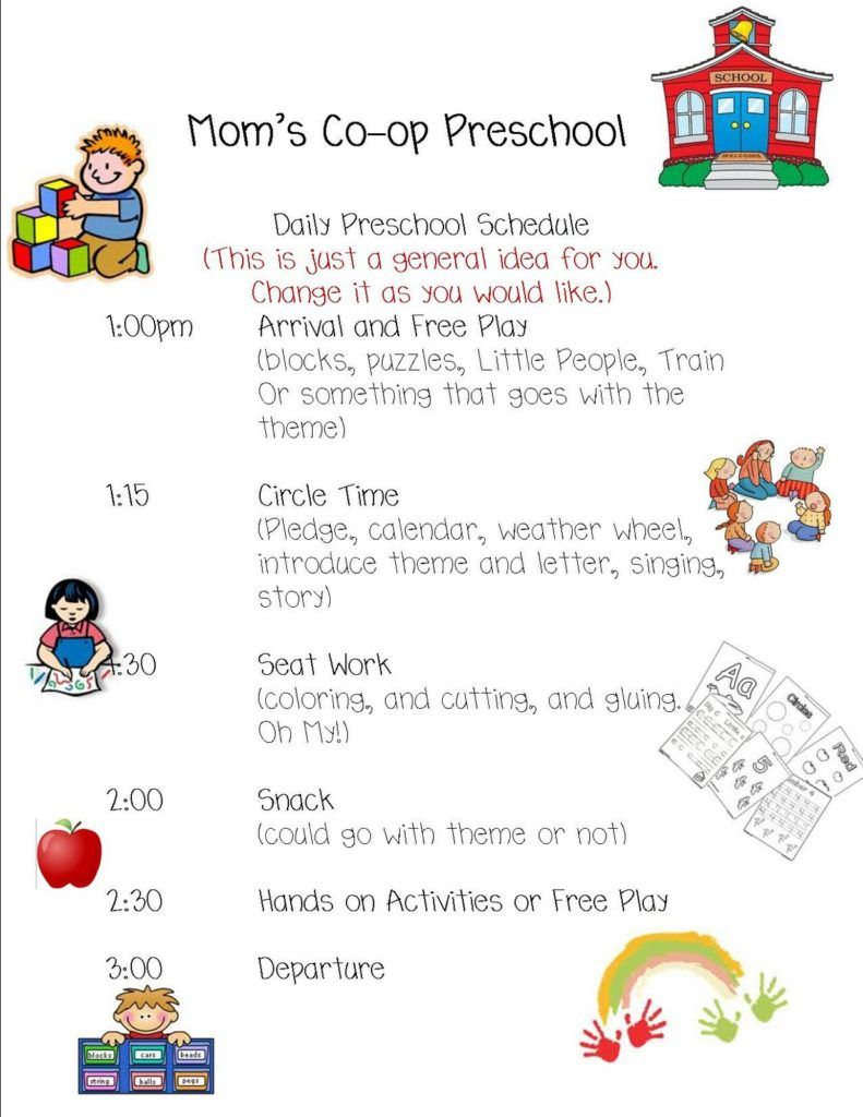 Preschool daily schedule daycare lessons pinterest for Preschool classroom schedule template