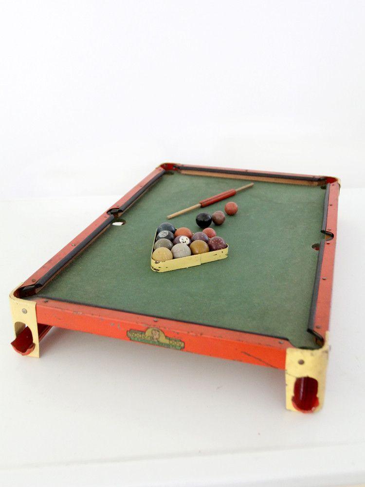 Antique 1920's toy billiards table set Billiard pool