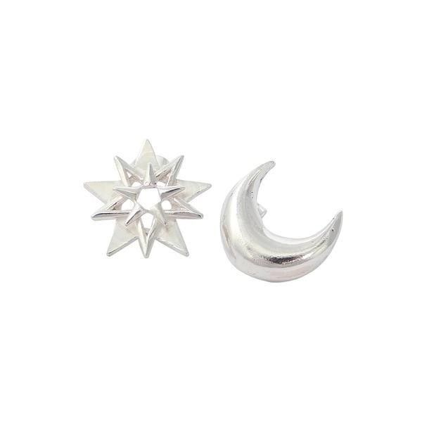 NOVICA Star and Crescent Moon Silver Button Earrings from Mexico (97 AUD) ❤ liked on Polyvore featuring jewelry, earrings, button, sterling silver, sterling silver earrings, novica, sterling silver star earrings, sterling silver jewellery and star earrings