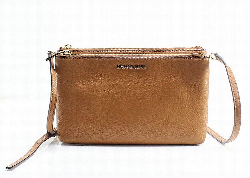 aa2a7c2b5f05 Michael Kors NEW Acorn Brown Leather Adele Double Zip Crossbody Purse  198   021  fashion