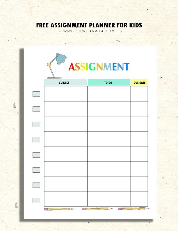 Printable Assignment Planner For Kids And Teens Homework Planner Assignment Planner Student Planner Printable