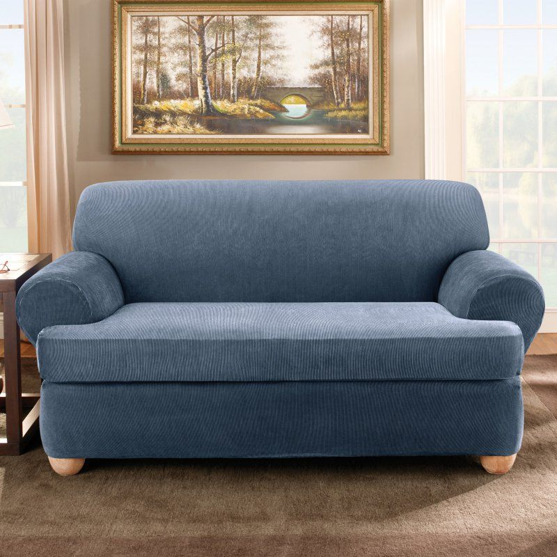 Sure Fit Stretch Stripe T Cushion Two Piece Sofa Slipcover