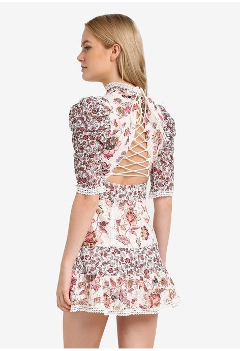 d92d543ce323b Floral Lace Strappy Back Mini Dress from TOPSHOP in white and multi 1