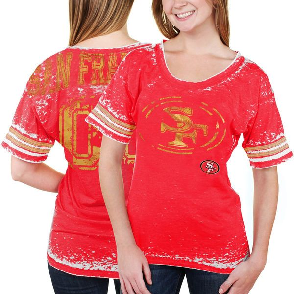 San Francisco 49ers 5th   Ocean Women s Burnout Oversized T-Shirt - Scarlet  -  32.99 3e12decdb