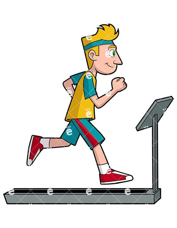Man Running On Treadmill Cartoon Vector Clipart Friendlystock Man Illustration Running On Treadmill Cartoons Vector