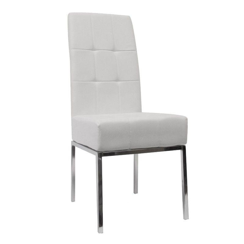silla de comedor de diseo modelo turia en color blanco patas de metal cromado