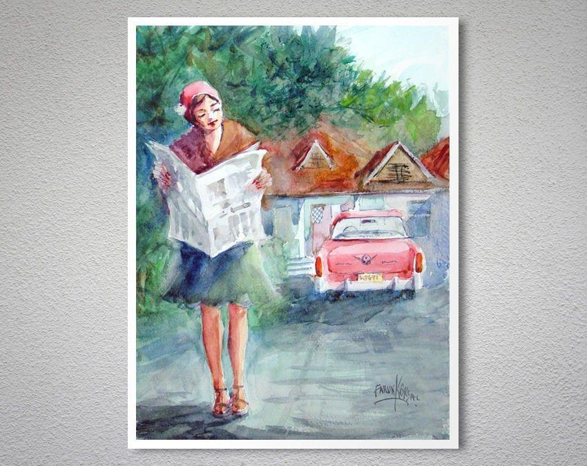 Morning News Watercolor Painting By Faruk Koksal Poster Paper