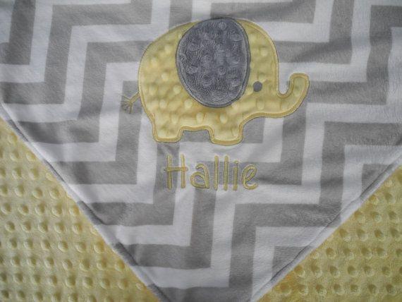 Personalized Baby Blanket, Yellow Elephant on Grey Chevron Minky Baby Blanket, Custom Blanket, Made to Order on Etsy, $50.00