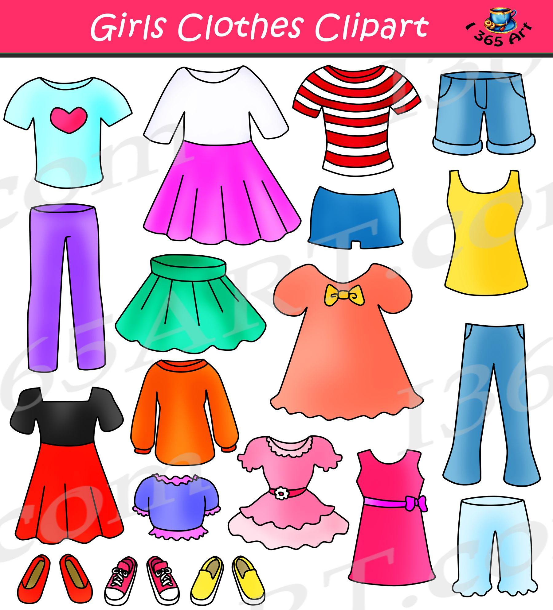 Girls Clothes Clipart Set Dress Up Clip Art