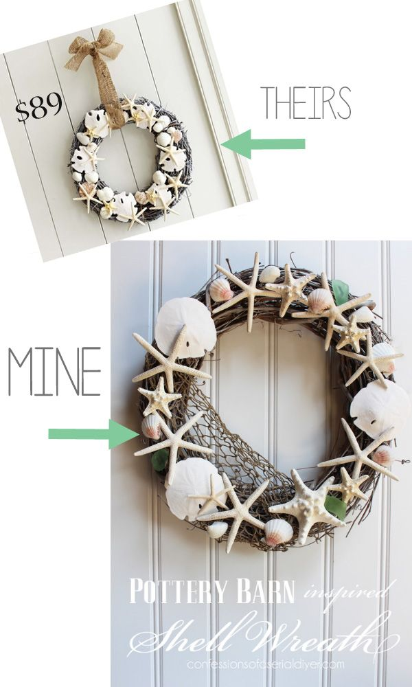 How to's : How to make a Pottery Barn inspired shell wreath.