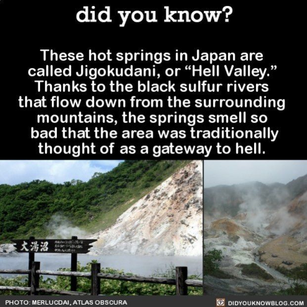 """This is filed under """"Places Not to Visit"""" #smelly #stinky #Japan #hotsprings #gatesofhell Share the helpful knowledge! Tag your friends in…"""