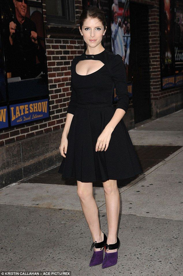 Eye-catching: Anna donned a pair of stunning two-tone black and purple heels while in New ...
