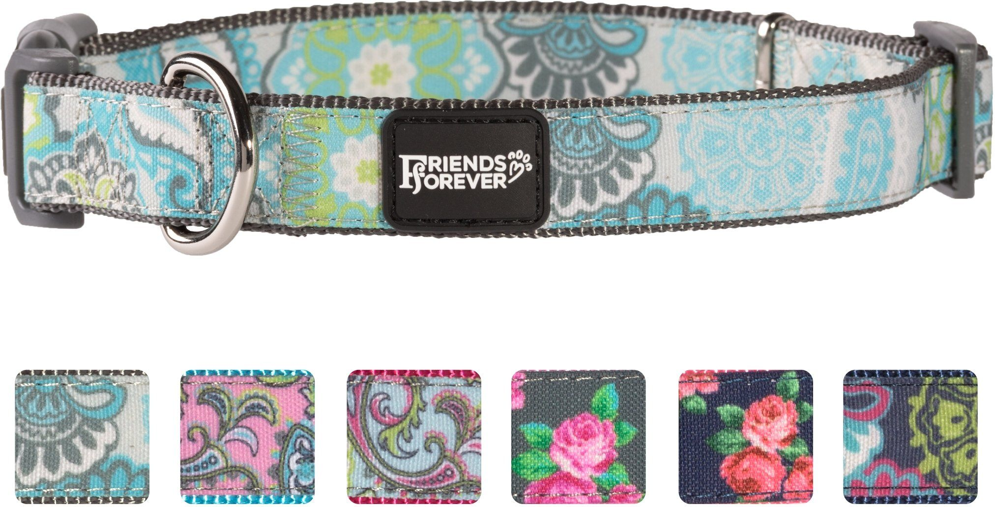 Friends forever dog collar dogs fashion print paisley