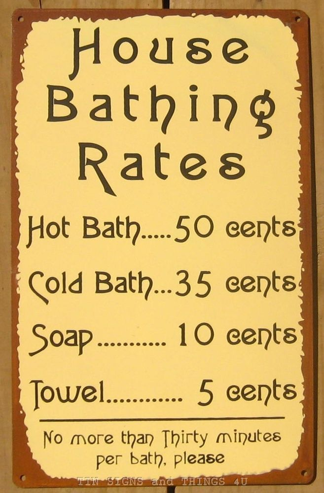 Bathing Rates Hot Bath Funny Tin Sign Metal Vtg Room Wall Decor Rule Rustic Ohw