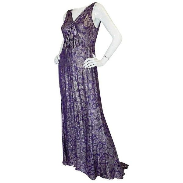 Preowned Rare & Extraordinary 1920s Purple & Gold Metallic Lame Gown ...